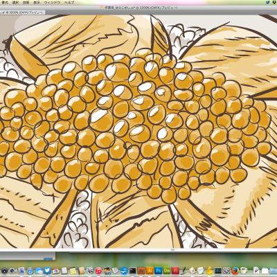 Adobe Illustratorで描いたいくら丼