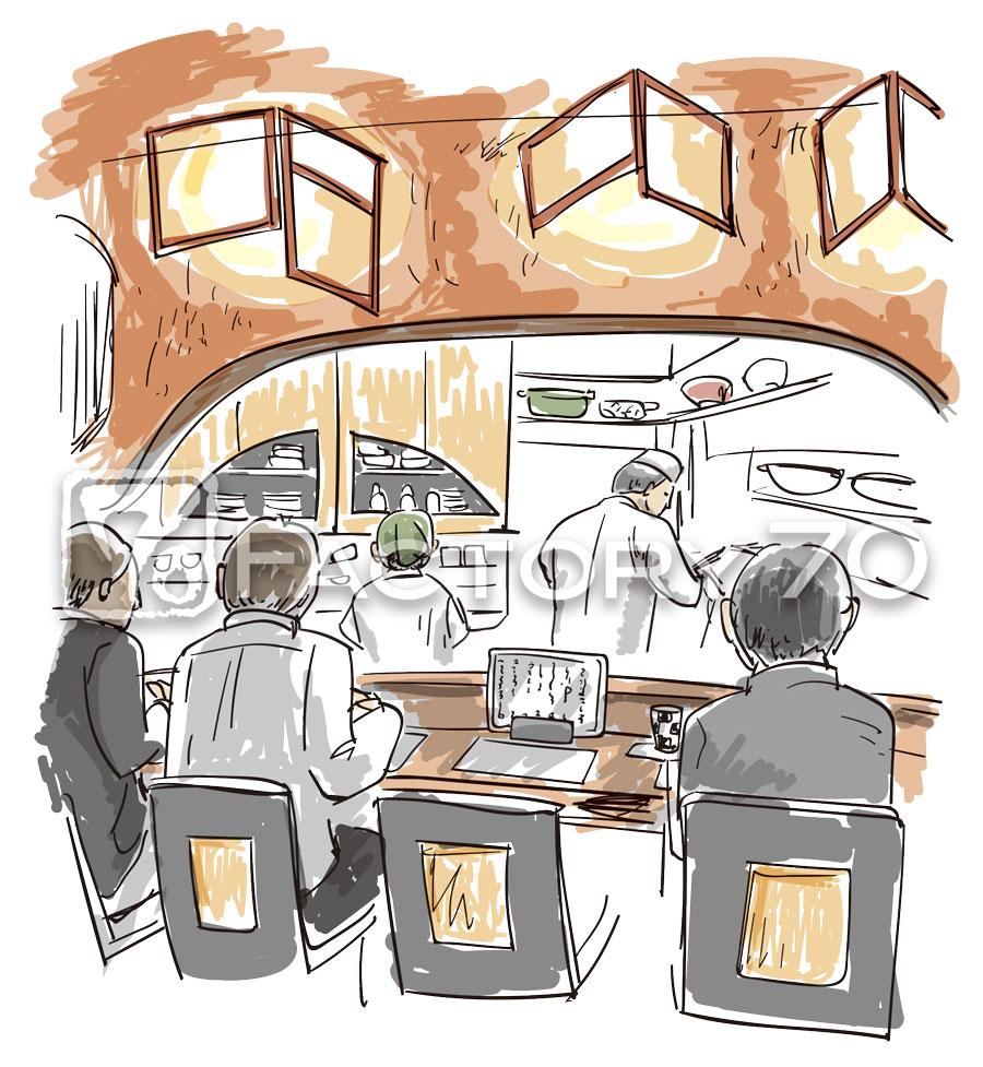 割烹の店内のイラスト制作例