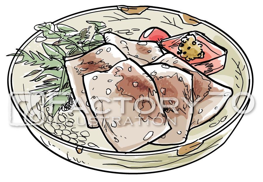 イラスト制作例 あまから手帖 連載「太田和彦の『西』シリーズ ぼちぼち割烹」本文イラスト