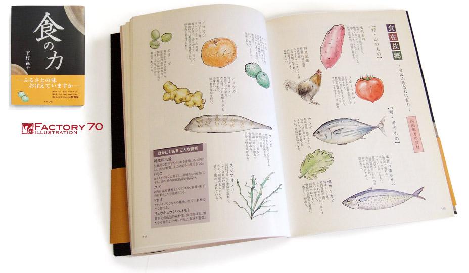 書籍イラスト制作例 食材のイラスト 水彩手描きイラスト 日本各地の食材