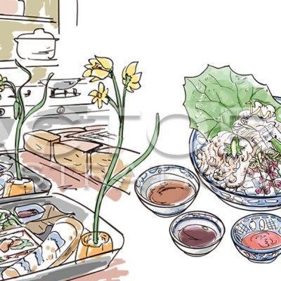 グルメ雑誌「あまから手帖」記事用イラスト 料理&店内風景イラスト(Adobe Illustratorによる手描き風イラスト)