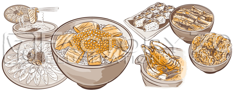 旅行雑誌グルメイラスト制作例(Adobe Illustratorによる手描き風・2色刷り)