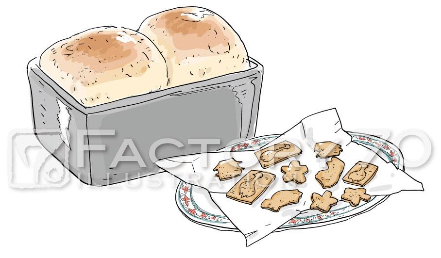 書籍用 料理イラスト制作例 ブータンの料理 パンとクッキー