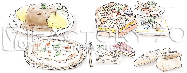 沖縄情報Net「RIKKA」本文見出し用料理イラスト(デジタル水彩)