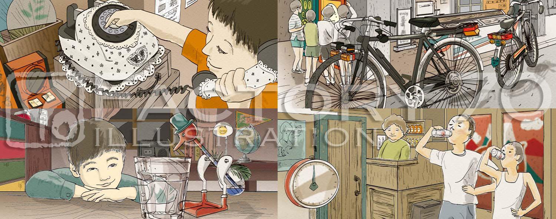 飲料パッケージイラスト制作例(明治「昭和浪漫ミルクコーヒー」昭和の風景イラスト, Illustrator)