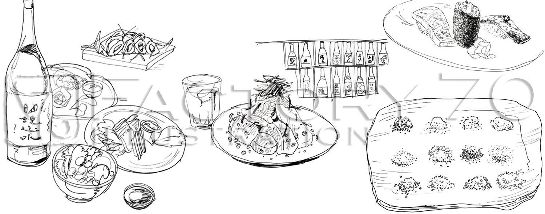 グルメエッセイ本 「男の居場所」勝谷誠彦著 本文イラスト 料理イラスト制作例(モノクロ)