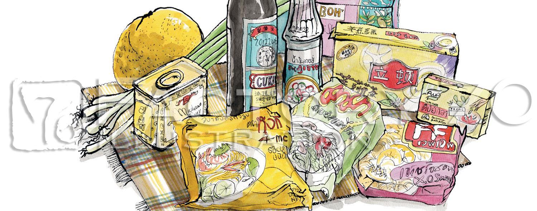 イラスト制作例 食材スケッチイラスト-アジア輸入食材