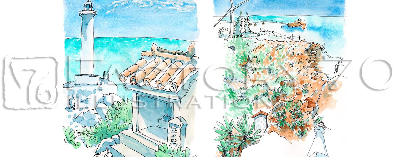 イラスト制作例 沖縄の建物のスケッチイラスト
