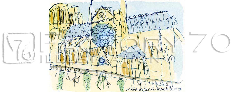 イラスト制作例 建物・風景スケッチイラスト パリにて